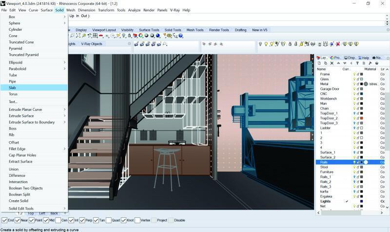 Rhino+VRay - Folding Walls Interior - Decode Fab Lab